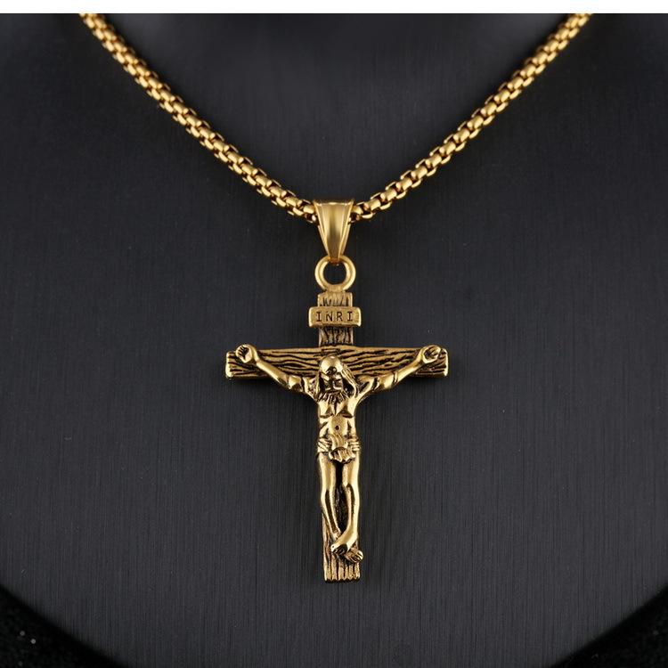 simple Jesus cross titanium steel pendant necklace NHOP313504