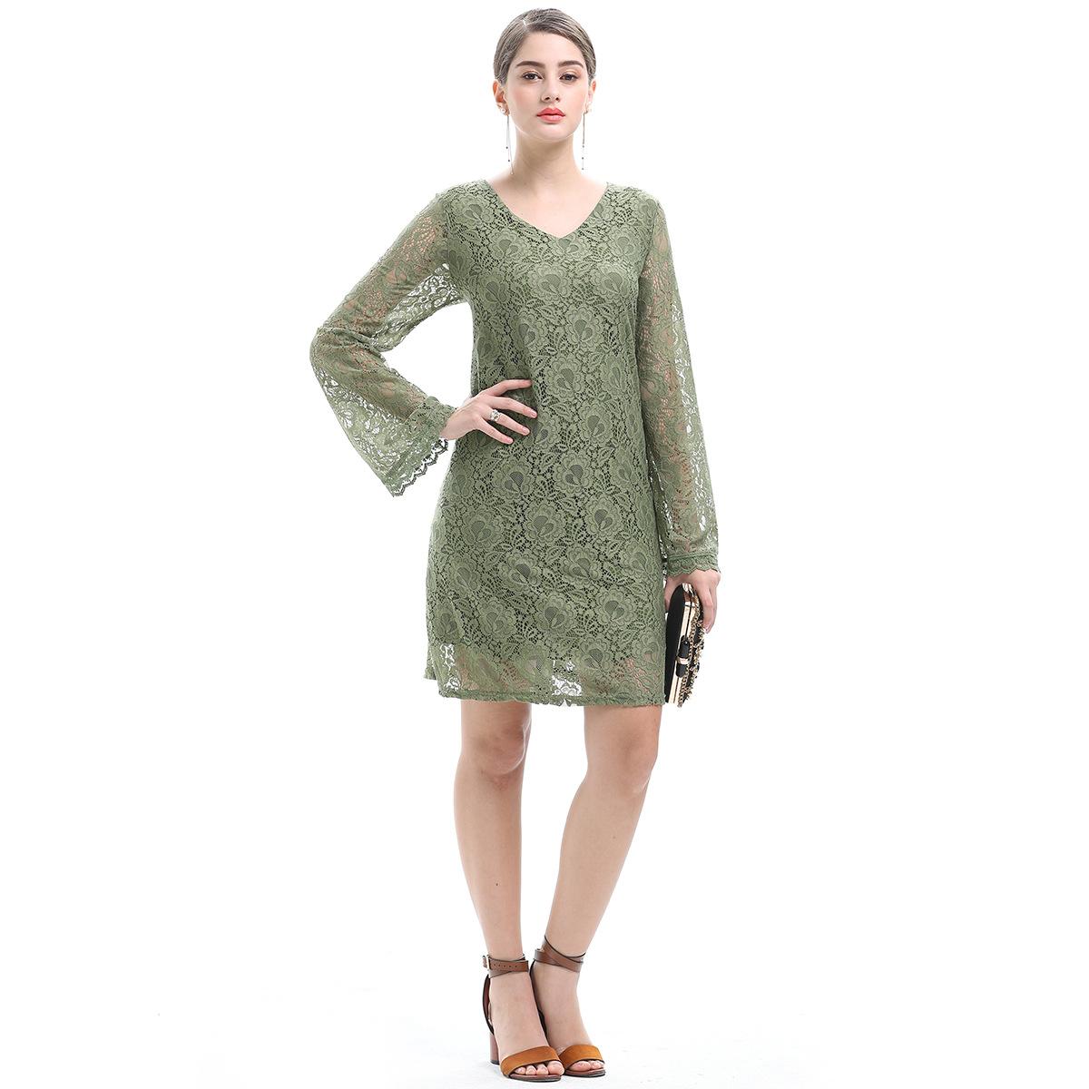 春夏新款名媛气质女装蕾丝裙大码时尚V领修身长袖连衣裙JR1643