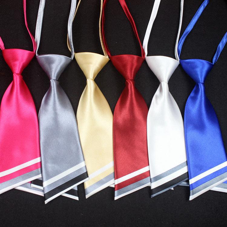 厂家直销刀型短款双层女士领带 水兵学生制服白领纯色斜头小领带