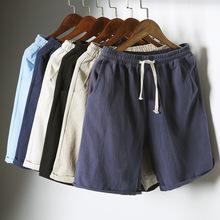 日系夏季亚麻五分裤男士短裤修身直筒棉麻松紧带休闲裤5分沙滩裤
