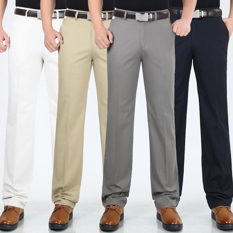 夏季薄款中年男士商务休闲裤高腰宽松纯棉男裤直筒百搭长裤子免烫