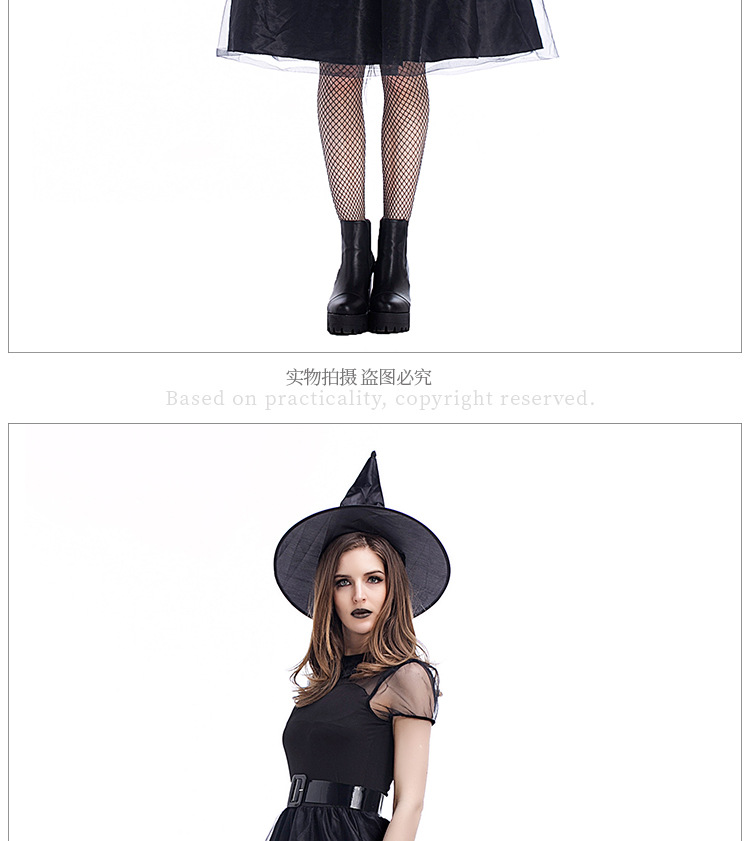 Halloween cosplay costume new black yarn witch suit NHFE153914