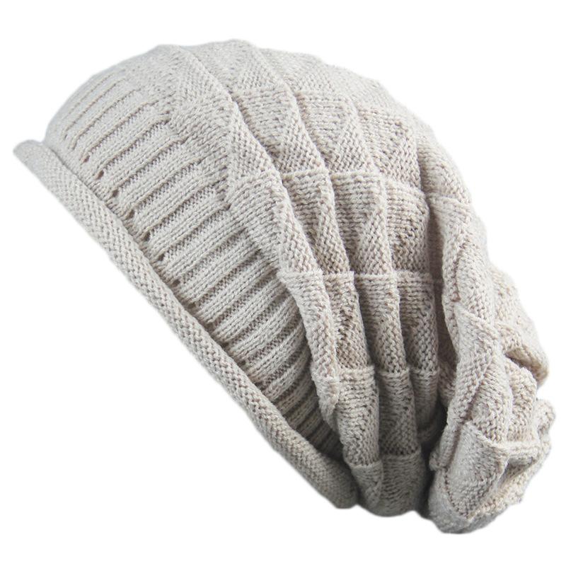 ebay速卖通新款帽子男女时尚冬季 韩版三角菱形堆堆针织毛线帽