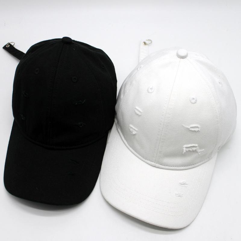 韩国秋冬新款潮帽子 个性水洗破洞鸭舌帽 男女简约磨毛棒球帽批发