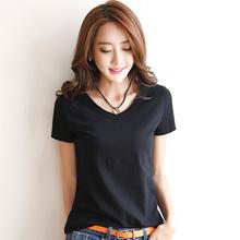 韩版短袖T恤女夏季新款修身棉体恤女纯色圆领上衣韩国打底衫