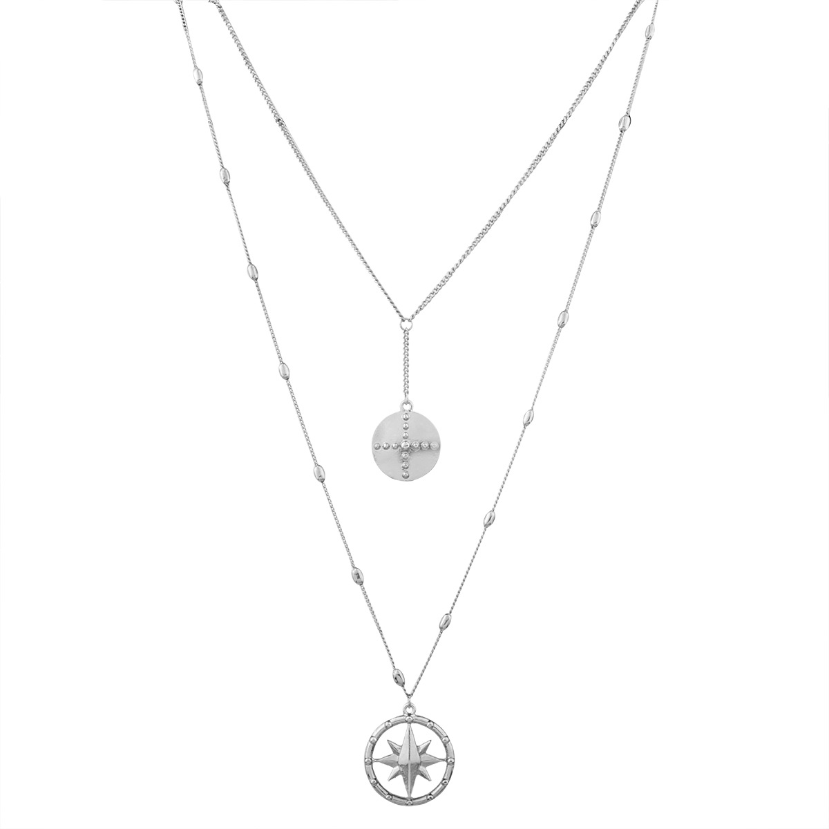 Occident and the United States alloy plating necklace (White k)NHNMD3859-White k