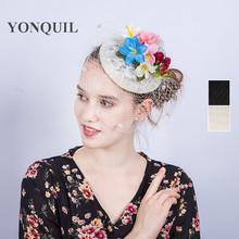 欧美新款精品神秘大网纱新娘面纱帽饰进口麻纱花朵发夹蕾丝礼帽款