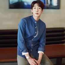 男士秋季新款牛仔衬衫韩版潮流立领长袖修身全棉日系休闲衬衣潮男