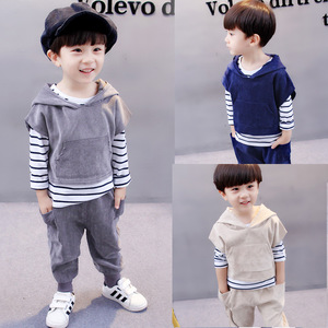 Boy's autumn dress suit 2017 autumn new Korean Edition children's 0-1-2-3-4 year old baby long sleeved three piece tide
