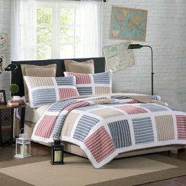 Quilted by Pujiang American cotton yarn-dyed hand-quilted by three-piece air conditioner summer cool bed cover