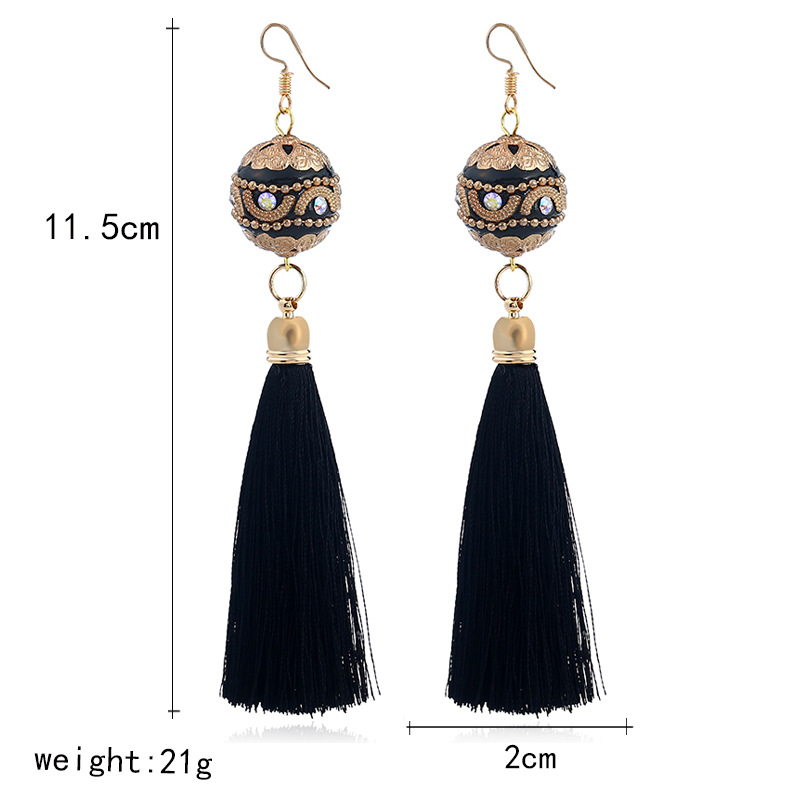 Retro metal plating earring (black)NHVA4525-black