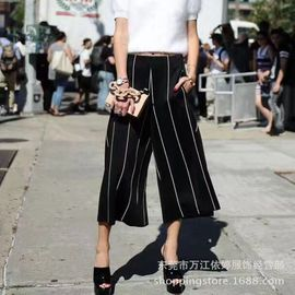 Women's wide-legged trousers New Fashion large size Women's trousers in Summer Middle waist casual pants show thin pleated trousers straight