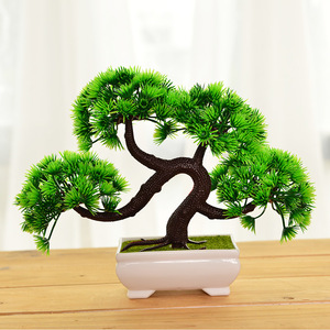 Simulation welcome pine small potted green plant bonsai pine tree small bonsai home decoration desktop decoration