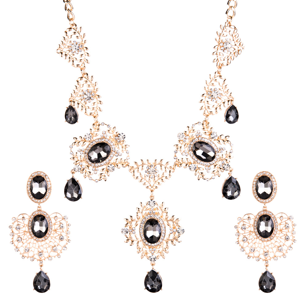 Fashion Alloy Rhinestone necklace  (red)  NHJE0941-red