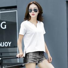 2018春夏新款韓版寬松純棉白色t恤女短袖V領純色百搭大碼胖MM顯瘦