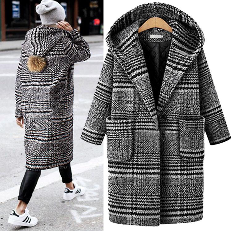 欧洲站秋冬新款女装中长款大码宽松千鸟格呢子大衣加厚毛呢外套女