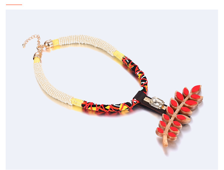 Bohemia Acrylic color necklace (Golden red)NHNTF1239-Golden red