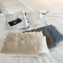 女装新品韩版修身竖纹针织打底衫性感显瘦简约细吊带背心