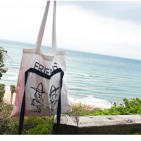 Túi vải mới của Hàn Quốc túi mua sắm đơn giản túi đeo vai ruy băng văn học graffiti nguồn bán buôn