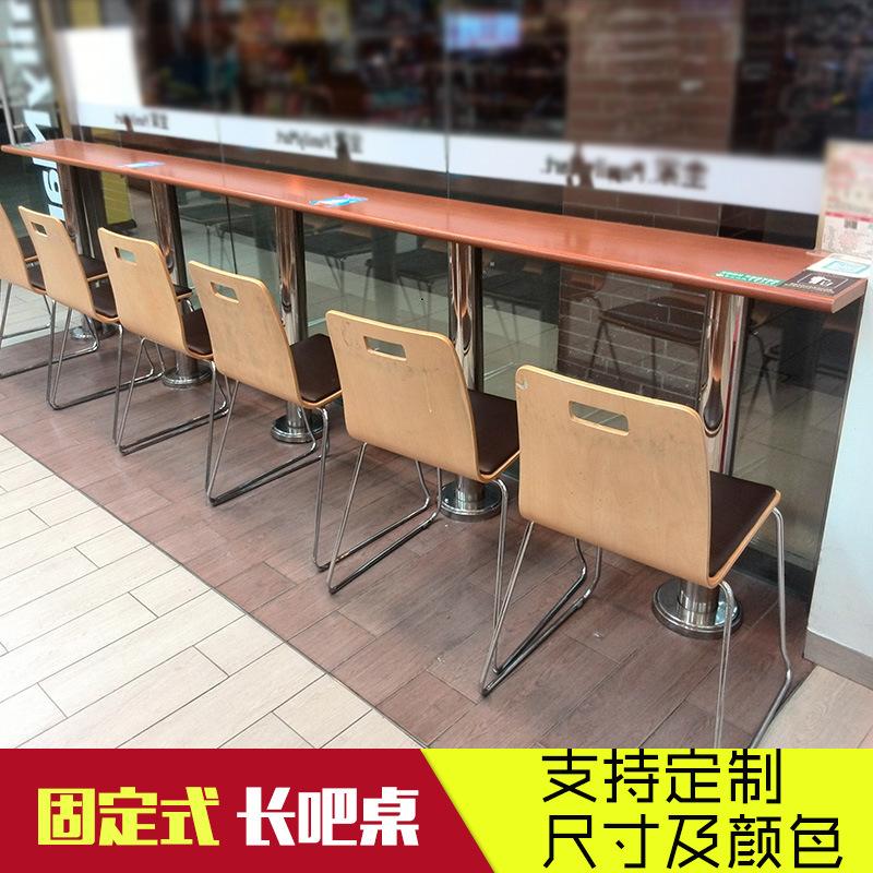 简约靠墙吧台桌固定支架快餐店咖啡奶茶店隔断高脚不锈钢桌子定制