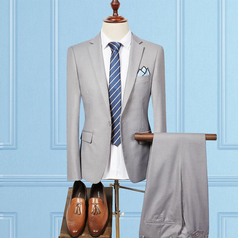 2019男士精品商务修身西装两件套 潮牌男士美发师职业装西服套装