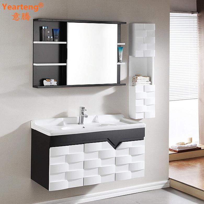 黑白浴室柜 浮雕卫浴柜 简约欧式实木柜镜柜?#35789;?#21488;洗脸盆柜607080