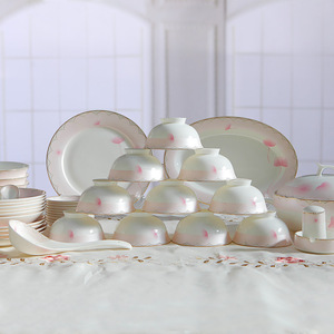 Tangshan authentic bone china tableware bowls set home dishes not forget the early heart 50 head can be customized with