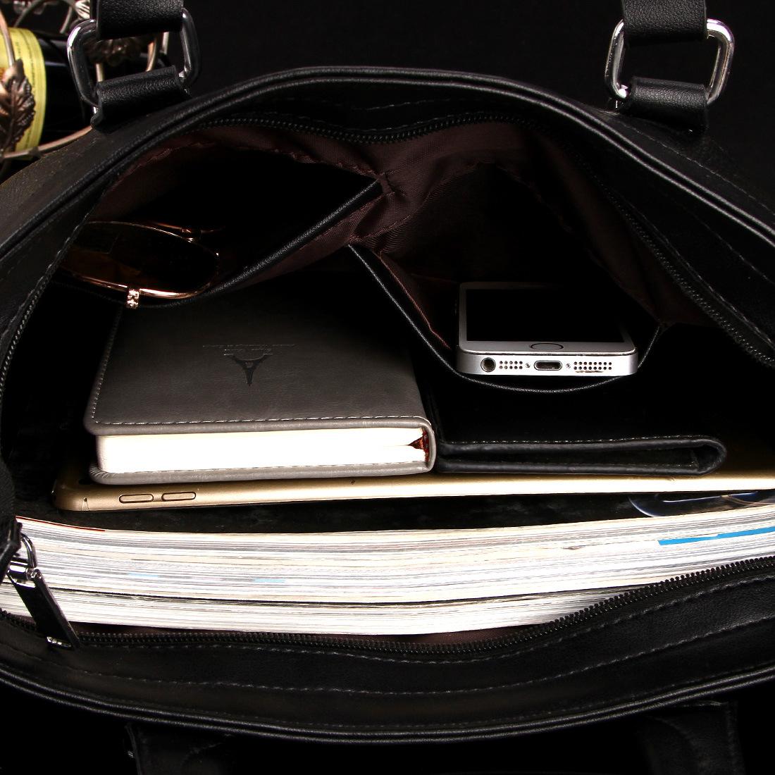 袋鼠男包手提包包男士皮包横款大容量商务公文斜挎包厂家批发代发