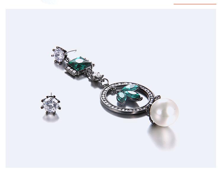 Alloy Fashion Geometric earring  (White + green) NHTF0111-White-green