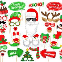 亚马逊爆款 32件套圣诞节派对拍照道具 搞怪造型圣诞拍照道具现货