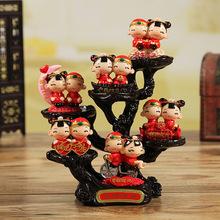 中式婚庆娃娃套装树脂小木桩工艺品七夕礼品家居情侣摆件厂家批发