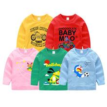 2018春款童装男童长袖T恤卡通 外贸原单男女童装打底衫一件代销