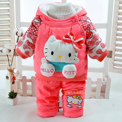 Cô gái bông quần áo phù hợp với mùa đông mới bé gái cộng với nhung đệm con mèo con hai bộ trẻ sơ sinh trai bông áo khoác bán buôn