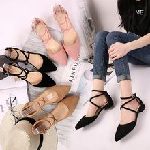 2017夏季新款韓版淺口尖頭低跟鞋粗跟涼鞋交叉綁帶搭扣單鞋絨面女