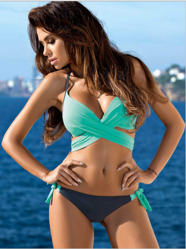 Fashion and sexy variety of cross-steel support two-piece swimsuit NHCC130945