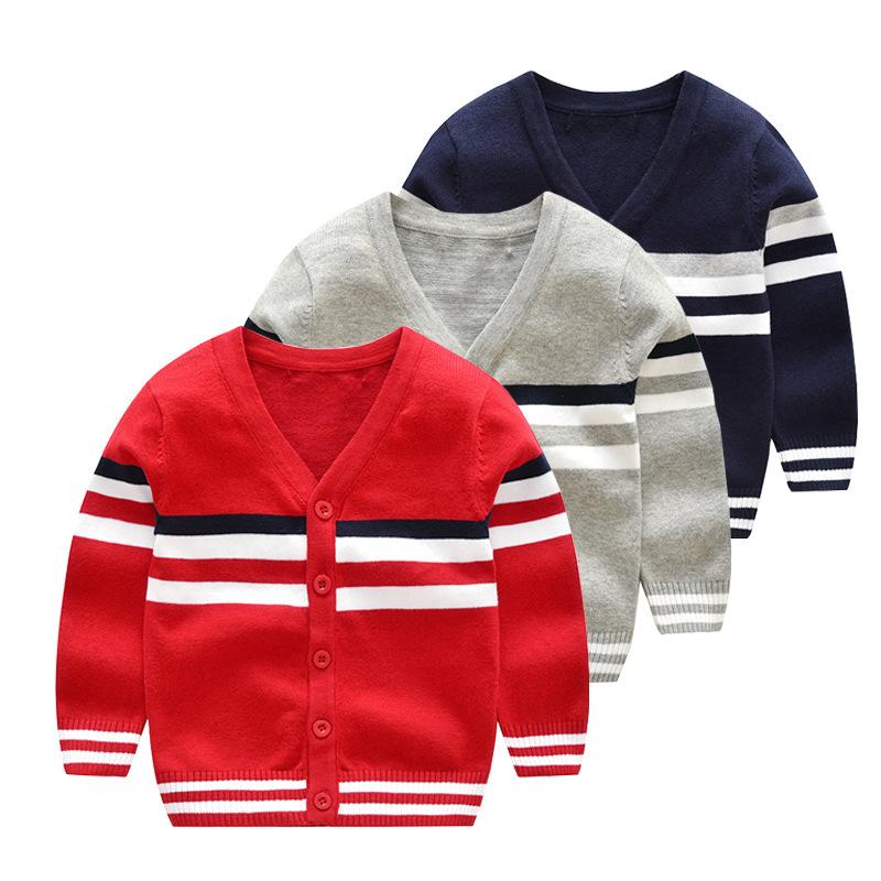 儿童毛衣2017秋冬新款男童针织衫开衫宝宝条纹开衫外套纯棉