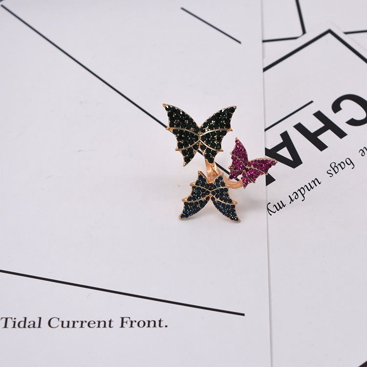 Europe and America wild micro-set three-dimensional butterfly opening ring NHNT154612