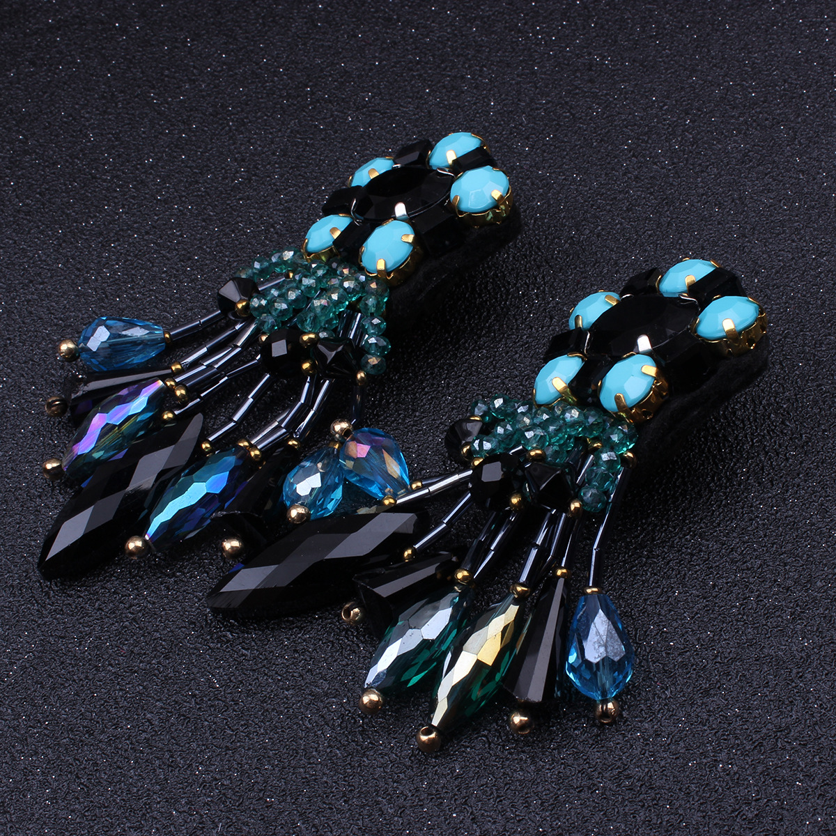 Occident and the United States alloy plating earring (blue)NHNMD3810-blue