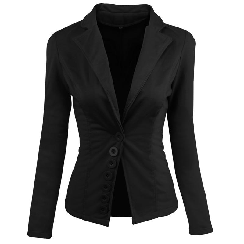 速卖通2020秋冬新款 排扣收腰长袖女装休闲修身短款小西装外套女