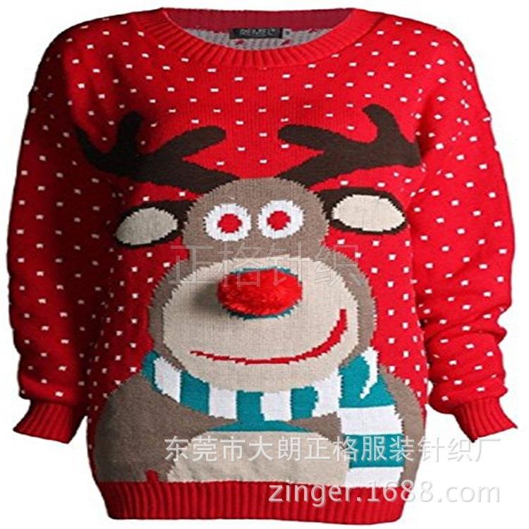 2018新款歐美圣誕節日針織衫毛衣 針織提花毛衣 丑陋花樣毛衣