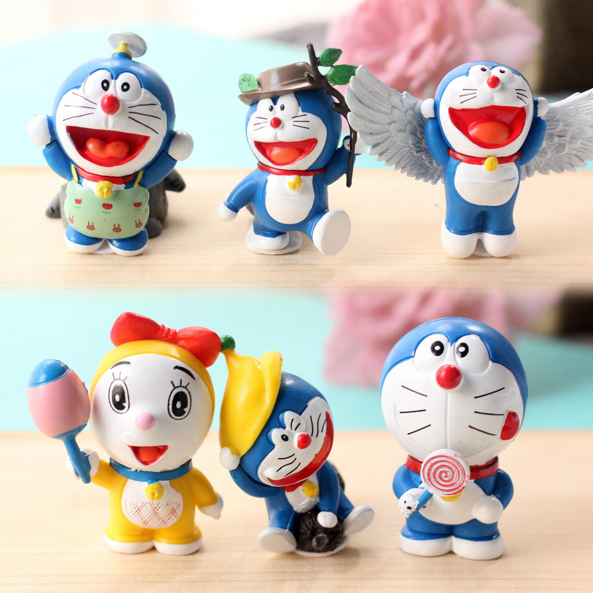 QQ抢红包群号多少周边哆啦A梦机器猫手办公仔玩具玩偶模型汽车6个摆件节日礼物