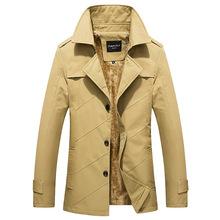 外贸原单秋季新款加厚男士外套中长款潮修身大码风衣男式休闲夹克