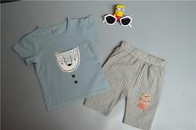 Bộ đồ bé trai thời trang, áo cộc tay+quần lửng kẻ sọc xinh xắn