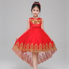 2017新款儿童婚纱儿童礼服女童拖尾礼服公主裙一件代发潮直销