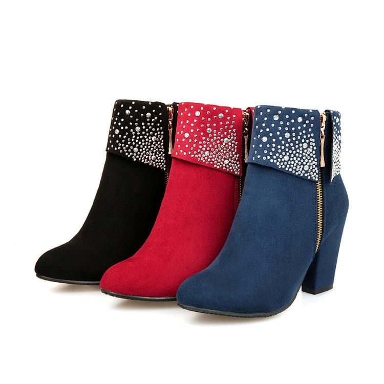 2018秋冬大小码女靴时尚欧美中跟粗跟马丁靴磨砂水钻短靴女士靴子