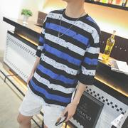 普杰欧 夏季新款个性条纹吊染迷彩印花圆领短袖T恤男青年帅气体恤