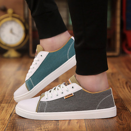 Spring new casual canvas men's shoes, men's student personality, different colors, contrast color, yin and yang