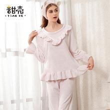 睡衣女士冬季新品法兰绒纯色可爱花边公主珊瑚绒厚款睡衣套装代发