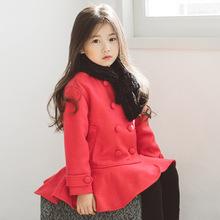 韓版新款童裝女童外套秋冬雙排扣兒童呢子大衣女大童甜美公主上衣