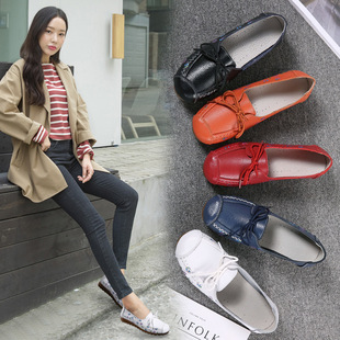 Women's shoes autumn 2021 new style single shoes soft surface comfortable printing ladies flat leather shoes women's shoes peas shoes women